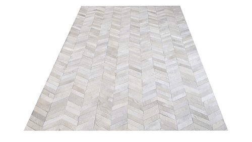 Chevron Cowhide Rug -White Color / Herringbone Cowhide Rug -White Color - CH2