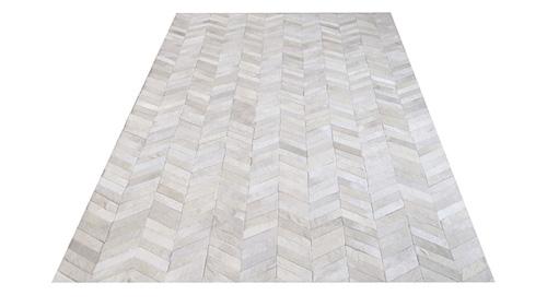 Chevron Cowhide Rug -White Color / Herringbone Cowhide Rug -White Color - CH2