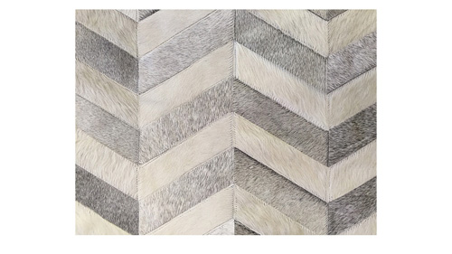 Chevron Cowhide Rug - Grey and White / Herringbone Cowhide Rug - Grey and White - CH5