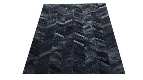 Chevron Cowhide Rug - Dyed Black / Herringbone Cowhide Rug - Dyed Black - CH6