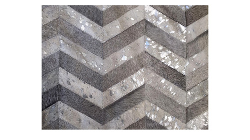 Metallic Chevron Cowhide Rug - Grey & Silver on White / Metallic Herringbone Cowhide Rug - Grey & Silver on White - CH7
