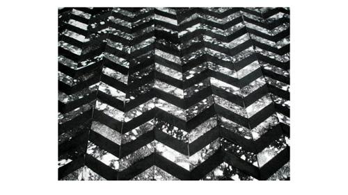 Metallic Chevron Cowhide Rug - Black & Silver on Black / Metallic Herringbone Cowhide Rug - Black & Silver on Black - CH8