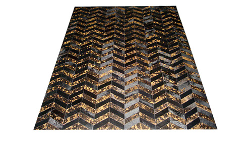 Metallic Chevron Cowhide Rug - Black & Gold on Black / Metallic Herringbone Cowhide Rug - Black & Gold on Black - CH9