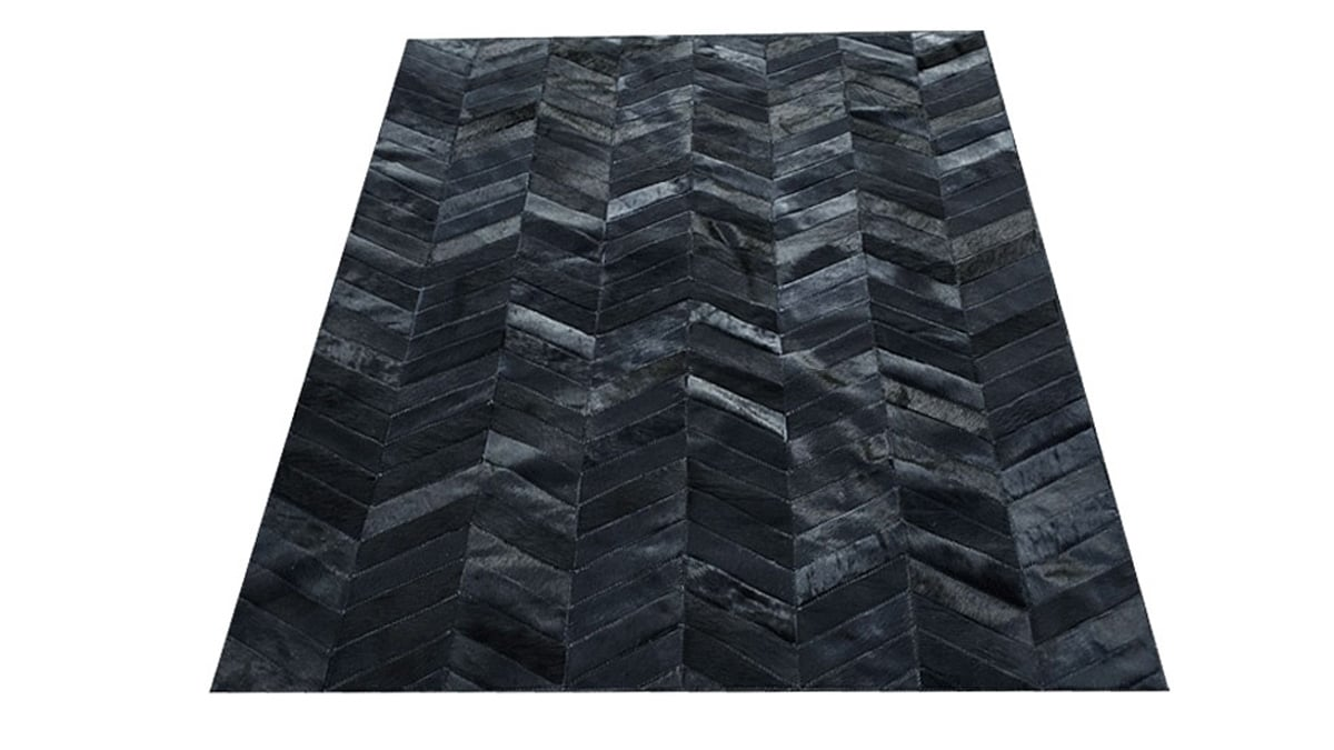 Chevron Cowhide Rug - Dyed Black / Herringbone Cowhide Rug - Dyed Black - CH6