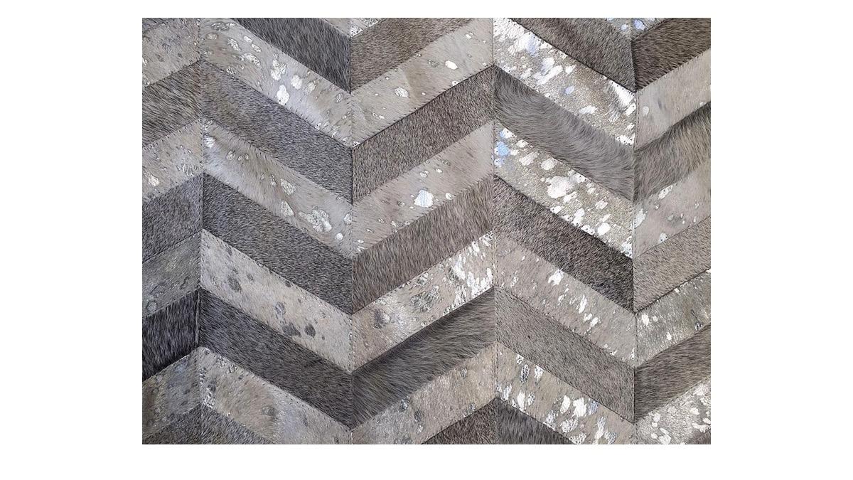 Metallic Chevron Cowhide Rug - Grey & Silver on White / Metallic Herringbone Cowhide Rug - Grey & Silver on White - CH7