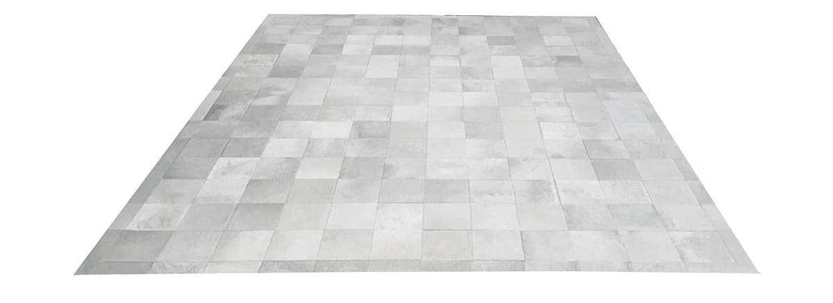 White Patchwork Cowhide Rug - Square Tiles - P1