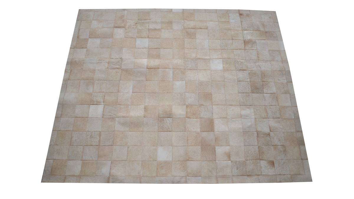 Tan Patchwork Cowhide Rug - Square Tiles - P3