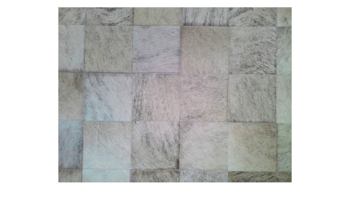 Light Exotic Patchwork Cowhide Rug - Square Tiles - P4