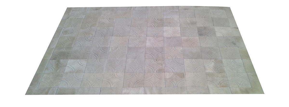 White Patchwork Cowhide Rug - Doral Luxor design - P5
