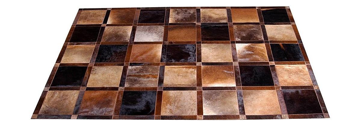 Beige and Brown Patchwork Cowhide Rug - Frames design - P10
