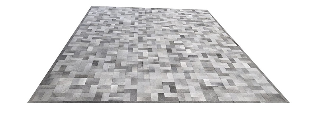 Grey Patchwork Cowhide Rug - Chalten design - P13
