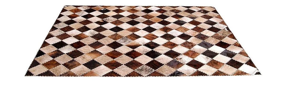 Brindle Patchwork Cowhide Rug - Diagonal Checkerboard Tiento design - P17