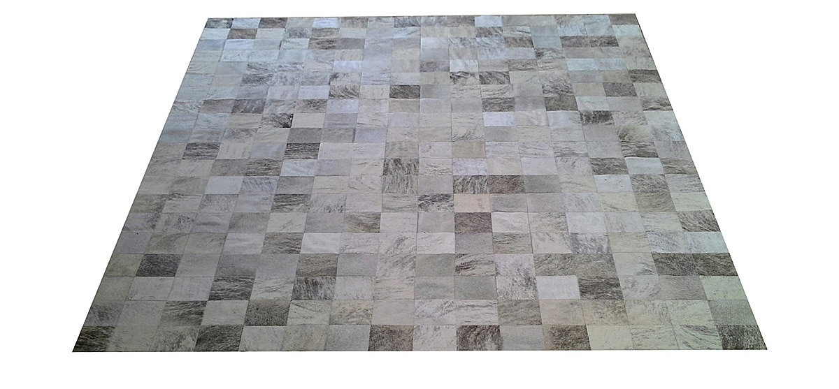Grey and White Patchwork Cowhide Rug - Square Tiles - P20
