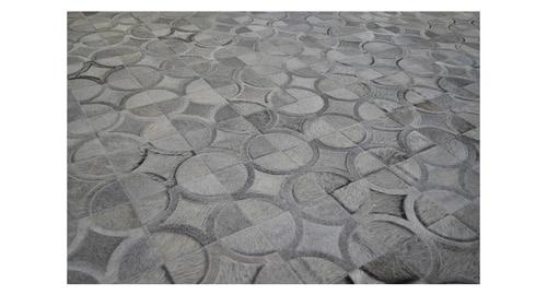 Grey Patchwork Cowhide Rug - Doral Luxor design - P6