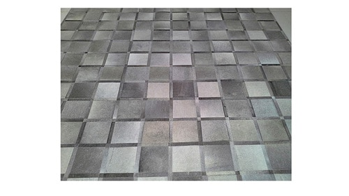 Grey Patchwork Cowhide Rug - Frames design - P9