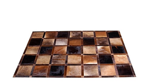 Beige and Brown Patchwork Cowhide Rug - Frames design - P10