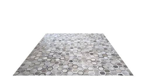 Grey Patchwork Cowhide Rug - Veronica design - P15