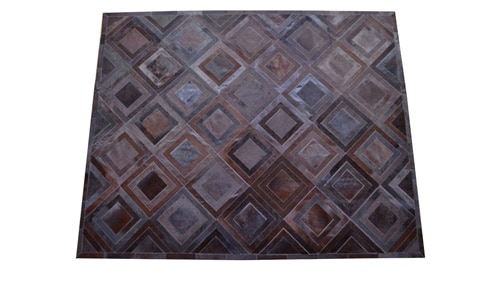 Dyed Brown Patchwork Cowhide Rug - Diamonds design - P16