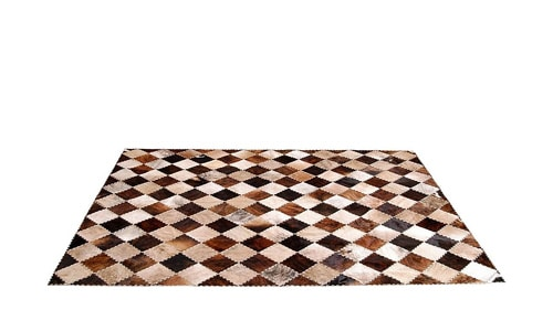 Brindle Patchwork Cowhide Rug - Diagonal Checkerboard Tiento design - P17