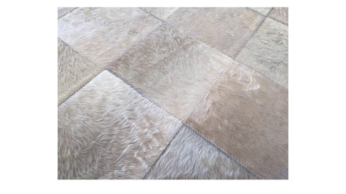 Light Taupe Patchwork Cowhide Rug - Large Patches in Champagne Color - P19