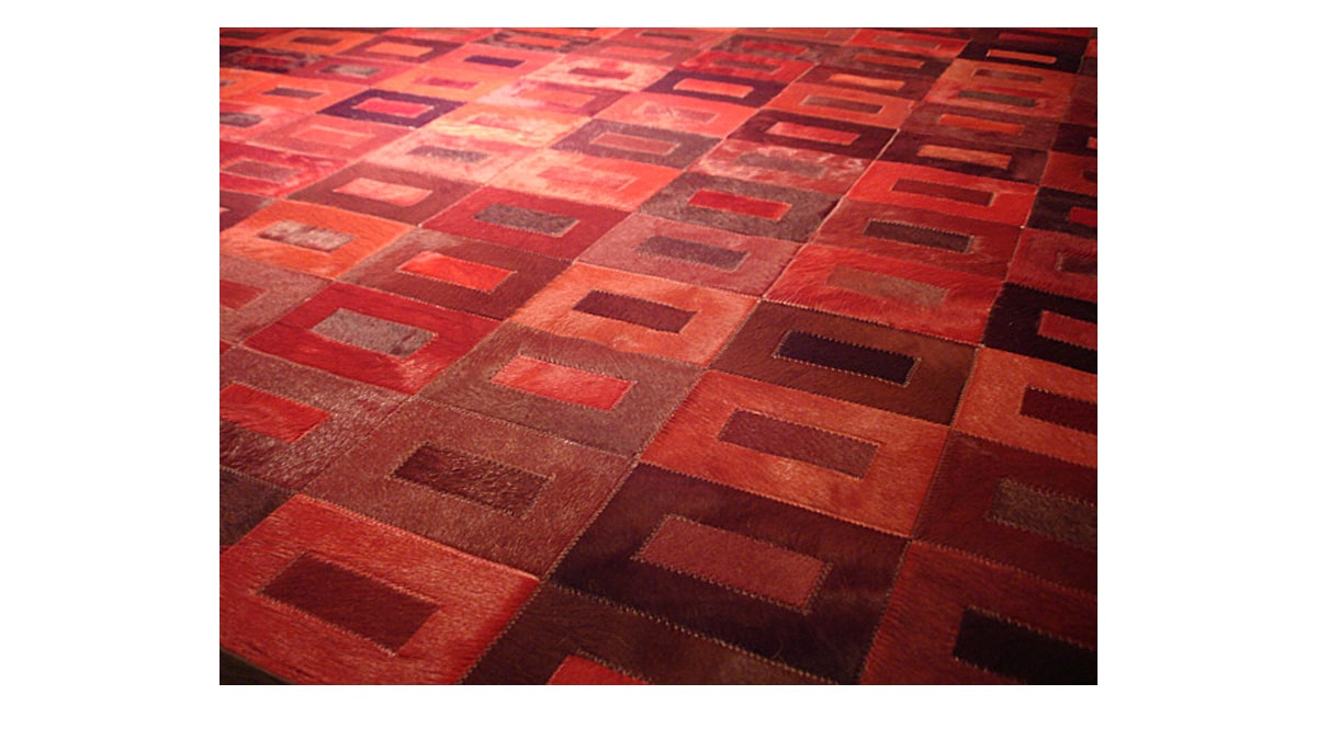 Dyed Cowhide Rug - Red Tones in Tango design - D1