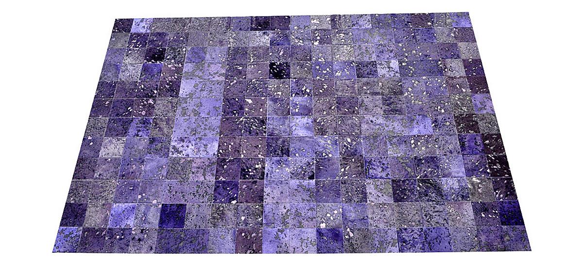 Dyed Cowhide Rug - Blue Purple Devore Square Tiles - D8