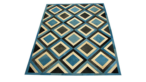 Dyed Cowhide Rug - Dyed Blue White and Charcoal - D2