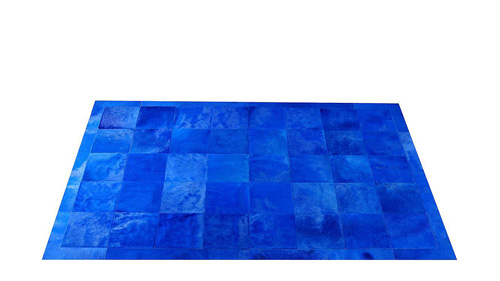 Dyed Cowhide Rug - Blue Square Tiles - D3