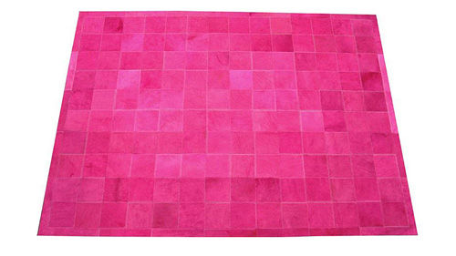 Dyed Cowhide Rug - Fuchsia Square Tiles - D4