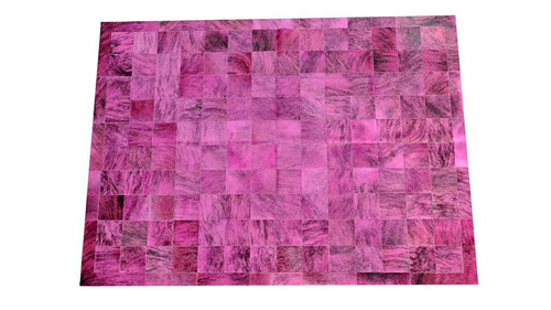 Dyed Cowhide Rug - Fuchsia Exotic Square Tiles - D5