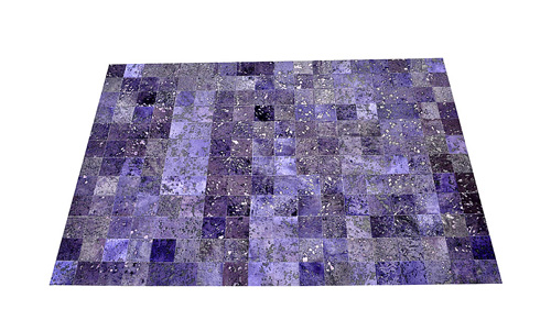 Dyed Cowhide Rug - Blue Purple Devore Square Tiles - D8