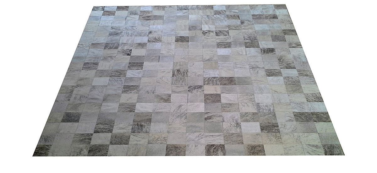 Grey and White Cowhide Rug - Square Tiles - G6