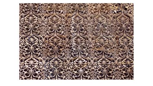 Laser Cut Cowhide Rug - Sophie design in Brown Chocolate - L2