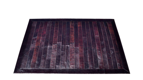 Stripes Leather Rug - Dark Brown - LR3