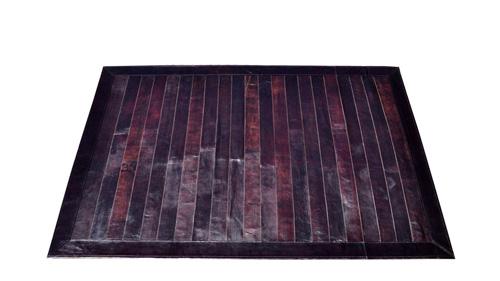 Stripes Leather Rug - Dark Brown - LR3
