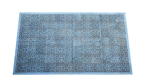 Laser Cut Cowhide Rug - Sophie design in Dyed Light Blue - L3
