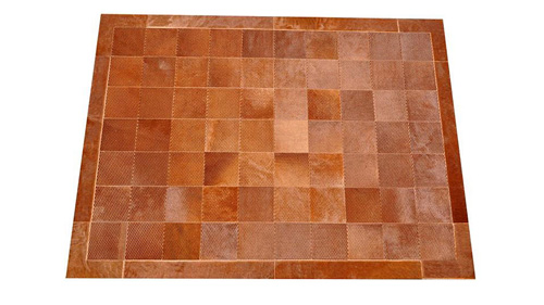 Laser Cut Cowhide Rug - Patagonia design in Dark Caramel - L4