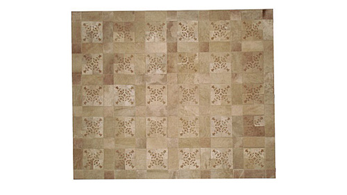 Laser Cut Cowhide Rug - Holland design in Light Taupe - L5
