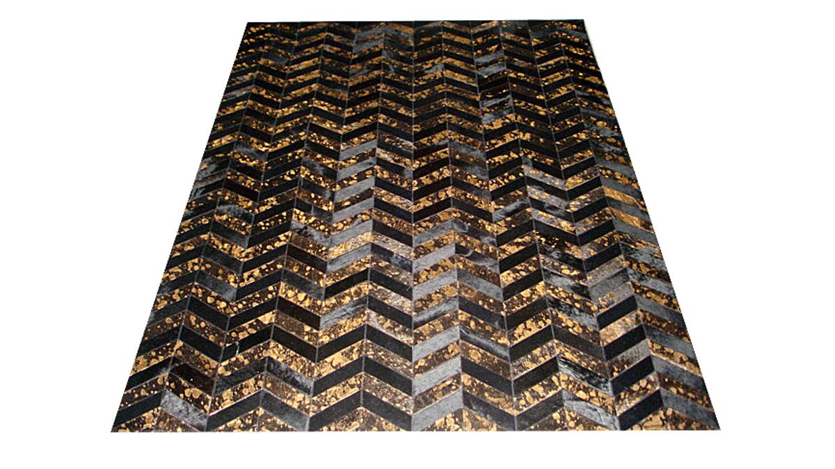 Metallic Hide Rug - Black and Gold on Black Chevron Hide Rug – M6