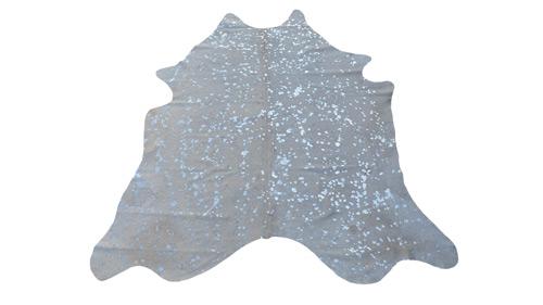 Silver on White Metallic Cowhide - MC2