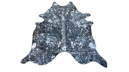 Silver on Black Metallic Cowhide - MC3