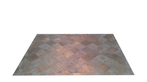 Metallic Cowhide Rug - Gold on White Diagonal design - M1