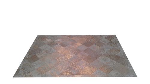 Metallic Cowhide Rug - Gold on White Diagonal design - M1