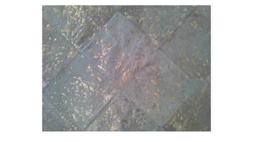 Metallic Cowhide Rug - Gold on White Diagonal design - M2