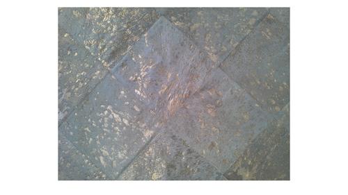 Metallic Cowhide Rug - Gold on White Diagonal design - M2