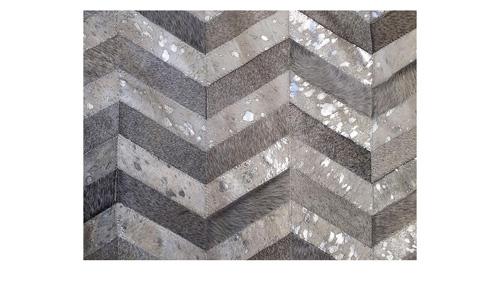Metallic Hide Rug - Grey and Silver on White Chevron Hide Rug – M4