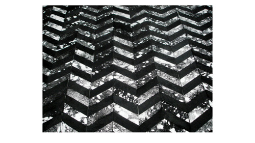 Metallic Hide Rug - Black and Silver on Black Chevron Hide Rug – M5