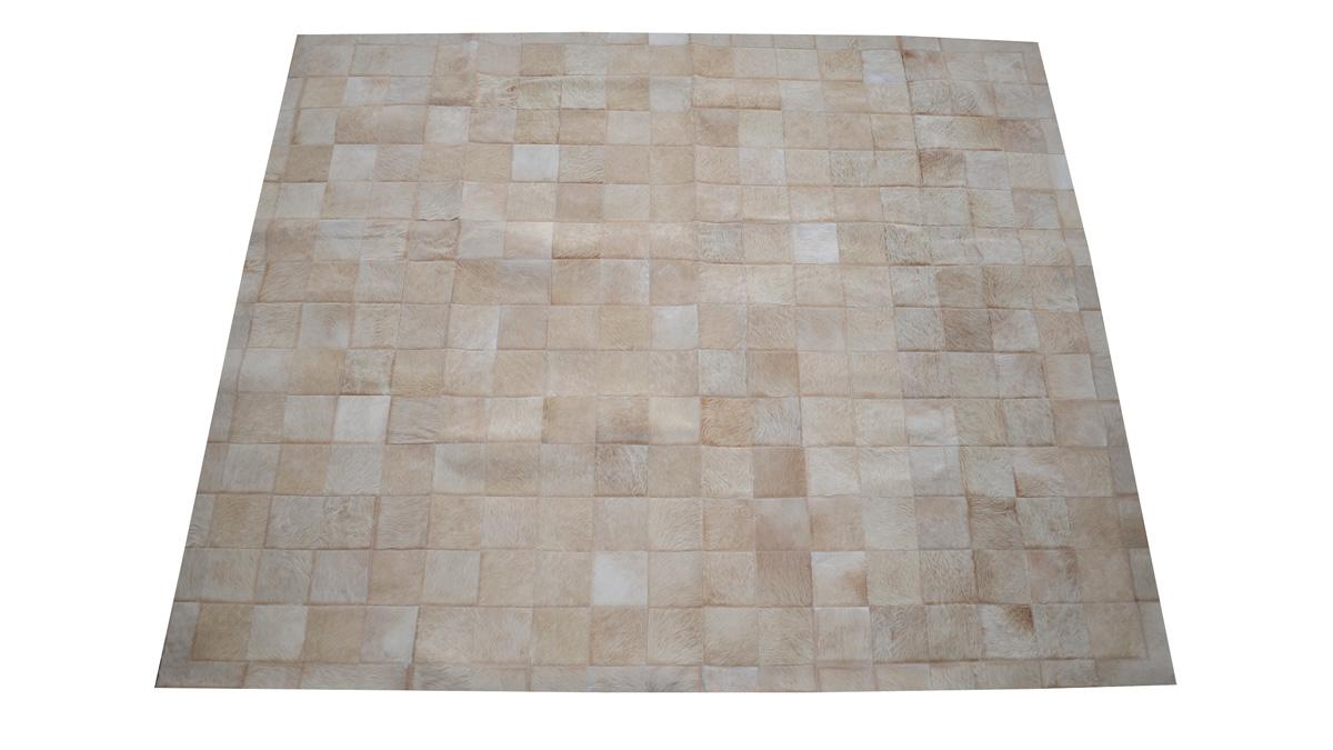 Light Tan Patchwork Hide Rug - Square Tiles Hide Rug - NC3