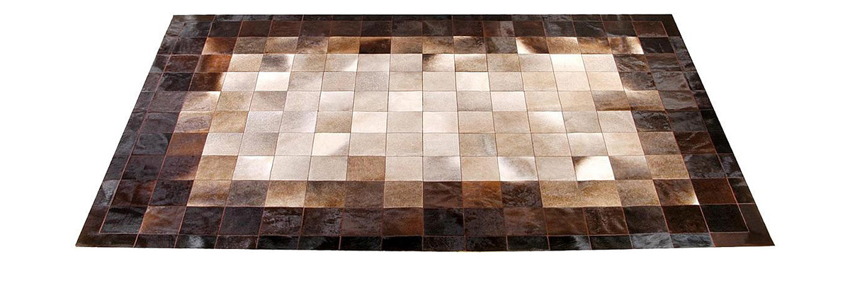 Cream and Brown Patchwork Hide Rug : Mountain design - NC10