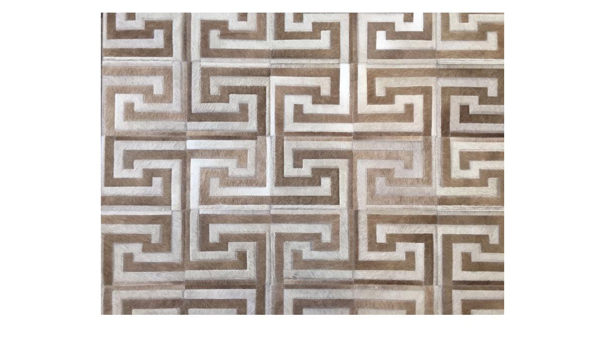 Light & Medium Taupe Hide Rug - Inca design - NC15